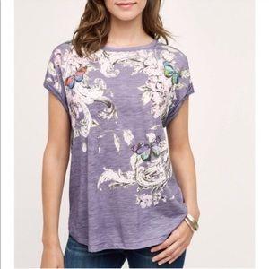 Anthropologie Tops - Anthropologie Postmark Butterfly Floral tshirt